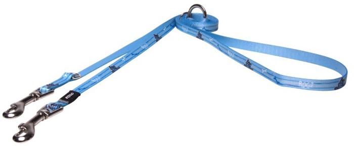 Поводок-перестежка для собак Rogz Yo Yo, цвет: голубой, ширина 1,2 см. Размер S поводок для собак rogz yo yo цвет голубой ширина 1 2 см размер m