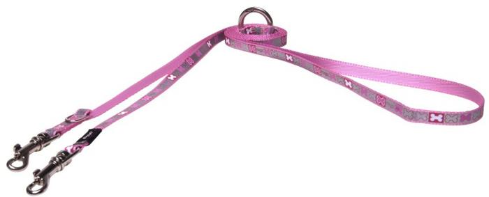 "Поводок-перестежка для собак Rogz ""Reflecto"", цвет: розовый, ширина 8 мм. Размер XS"