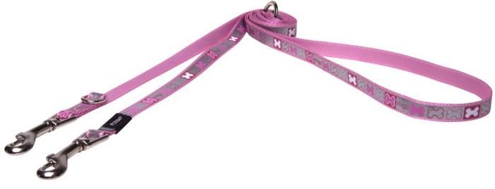 """Поводок-перестежка для собак Rogz """"Reflecto"""", цвет: розовый, ширина 1,2 см. Размер S"""