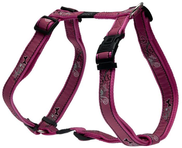 "Шлейка для собак Rogz ""Fancy Dress"", цвет: розовый, ширина 2,5 см, обхват шеи 43-70 см, обхват груди 60-100 см. Размер XL. SJ02BN"