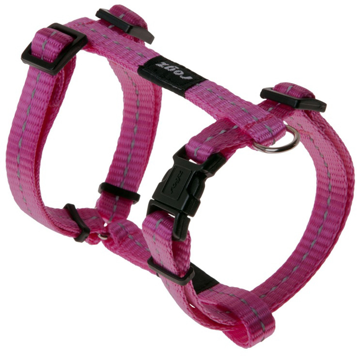 "Шлейка для собак Rogz ""Utility"", цвет: розовый, ширина 1,1 см, обхват шеи 20-31 см, обхват груди 23-37 см. Размер S"