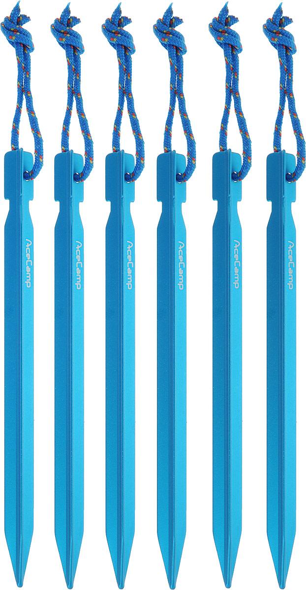 Набор колышков AceCamp AluminumYPeg, с петлями, цвет: синий, 18 см, 6 шт пряжка acecamp duraflex