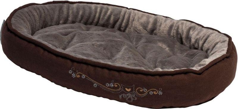 Лежак для кошек Rogz Snug Podz, цвет: коричневый, 40 x 32 x 8 см лежак для собак rogz lounge pod flat со съемным чехлом цвет бежевый 83 x 56 x 8 см