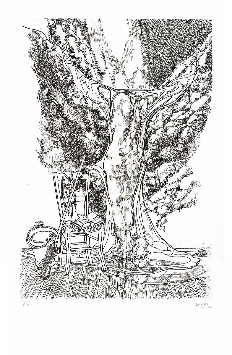 """""""Будни и мечты"""". Гравюра. Автор Майо. Франция, 1977 год"""