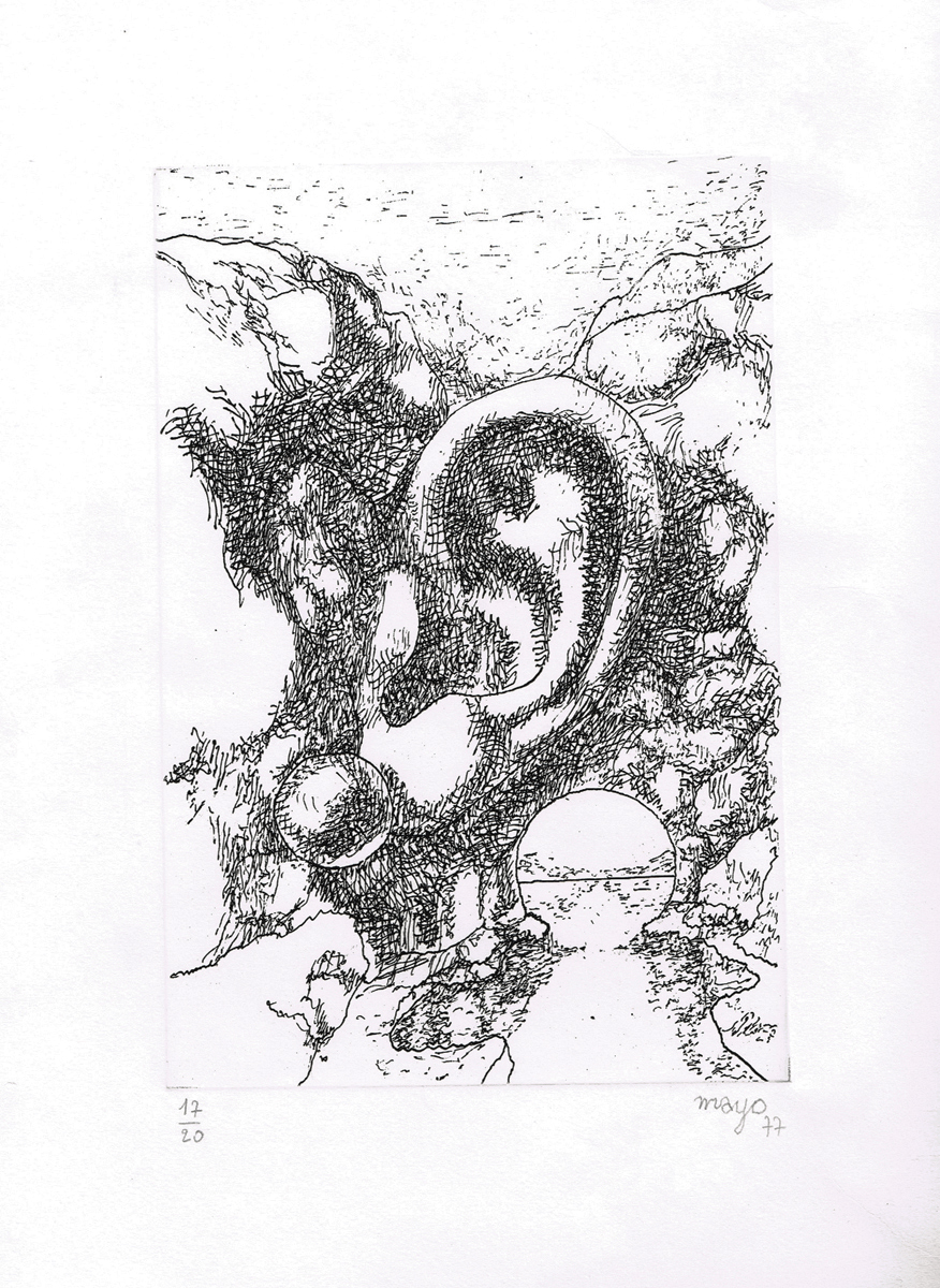 Через познание - в будущее. Гравюра. Автор Майо. Франция, 1977 год будни и мечты гравюра автор майо франция 1977 год