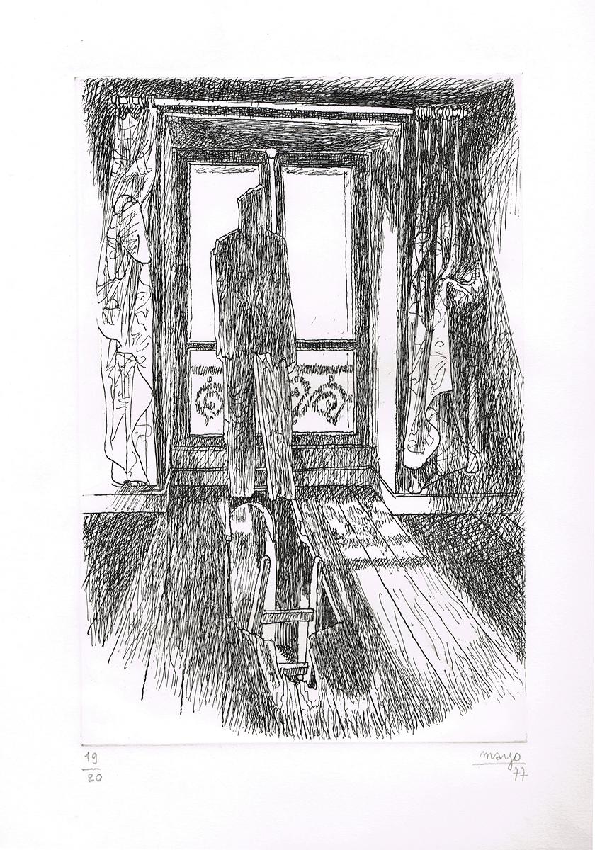 """""""Окно в мир"""". Гравюра. Автор Майо. Франция, 1977 год"""