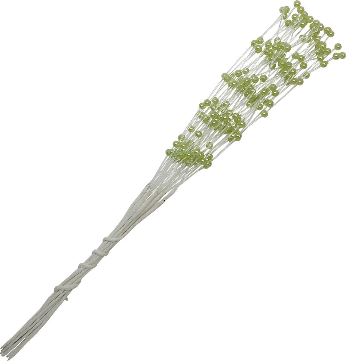 Украшение для скрапбукинга Цветы, цвет: зеленый, 0,3 х 21 см украшение на ножке village people соломенные веселые цветы цвет зеленый 66945 1