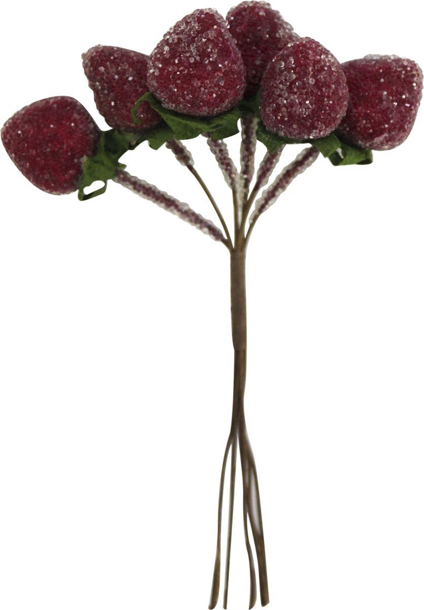 """Декоративный букет для скрапбукинга Астра """"Клубника красная в сахаре"""", цвет: красный, 10 х 6,5 см, 6 шт"""
