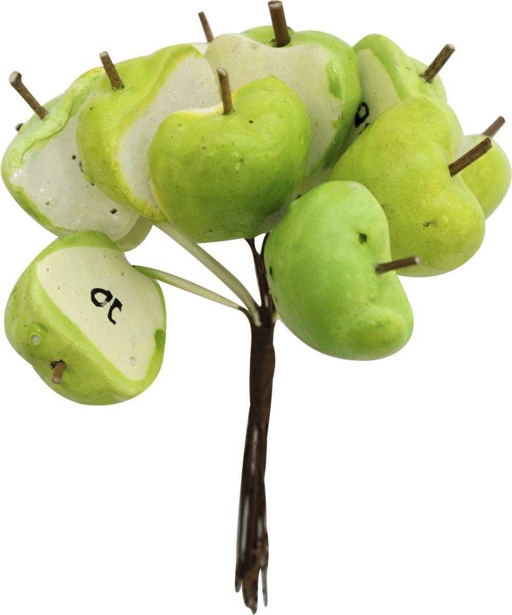 """Декоративный букет для скрапбукинга Астра """"Яблоки половинки"""", цвет: зеленый, 14 х 10 см, 12 шт"""