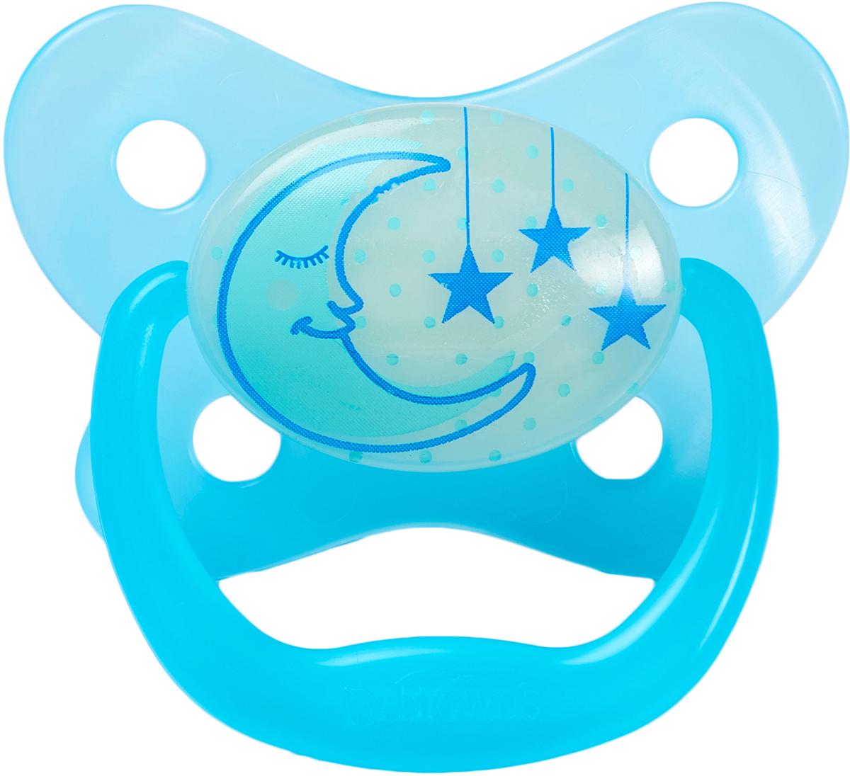 Dr. Brown's Пустышка PreVent от 6 до 12 месяцев ночная цвет голубой
