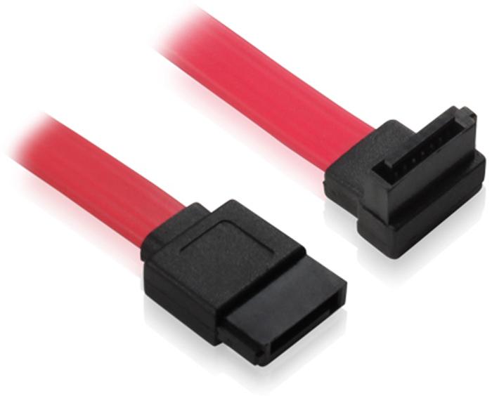 GCR GC-ST104, Red кабель интерфейсный угловой SATA II (0,2 м) кабель sata gembird cc sata data xl sata i sata ii sata iii 100см пакет