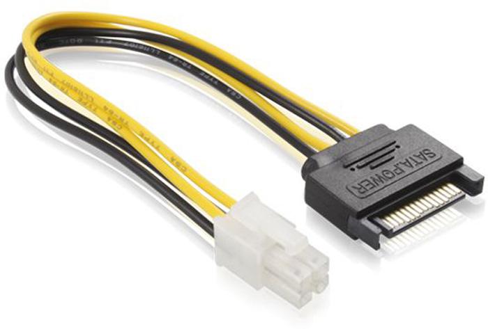 GCR GC-ST220 кабель питания SATA 15pin / ATX 4 pin PCI Express (0,15 м) удлинитель кабеля питания материнской платы 24m 24f 20см telecom