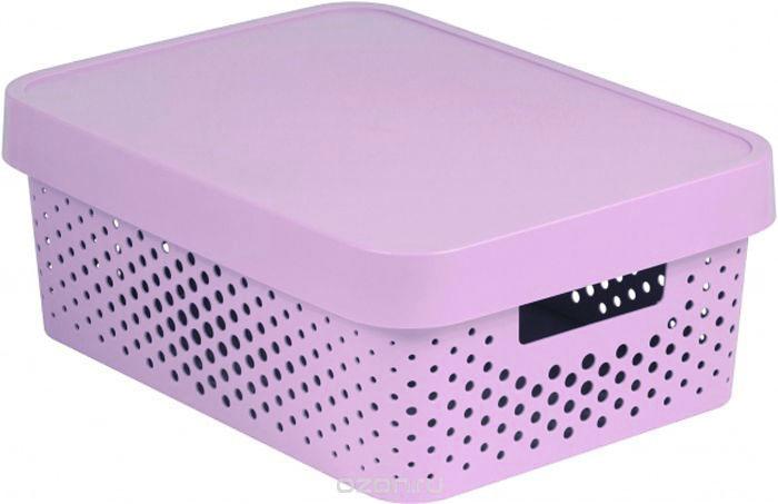 Коробка для хранения Curver Infinity, перфорированная, с крышкой, цвет: розовый, 11 л цена