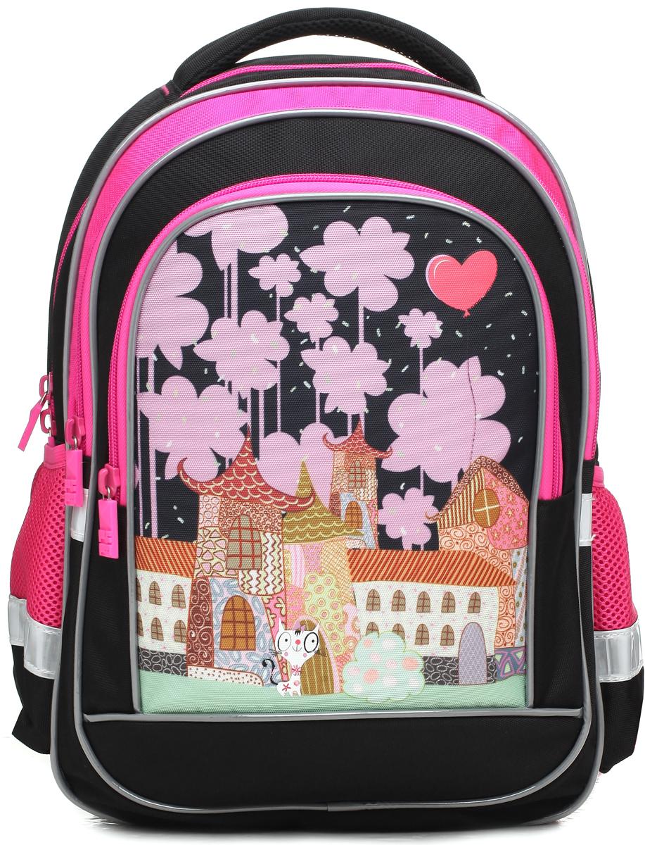 5cc3c047b5f8 4ALL Рюкзак School цвет черный розовый — купить в интернет-магазине OZON.ru  с быстрой доставкой
