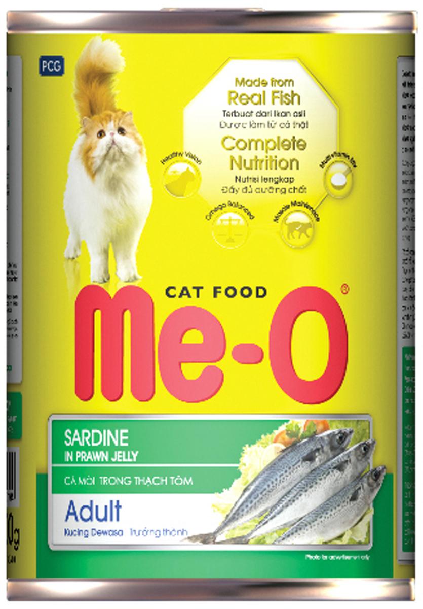 Корм консервированный для кошек PCG Ме-О, сардина в желе, 400 г паучи для кошек и котов pcg ме о сардина с курицей и рисом в желе 80 г