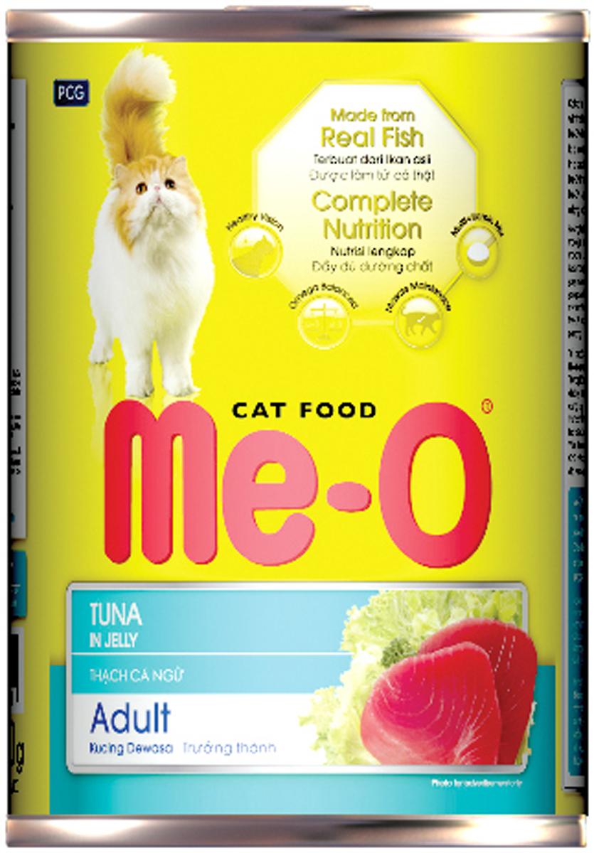 Корм консервированный для кошек PCG Ме-О, тунец в желе, 400 г паучи для кошек и котов pcg ме о сардина с курицей и рисом в желе 80 г