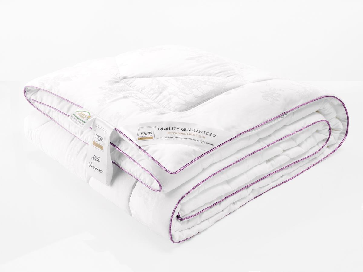 Одеяло Togas Милк Дримс, наполнитель: молочная нить, цвет: белый, 200 x 210 см наматрасник togas оптимум лайт наполнитель хлопок цвет белый 180 x 200 см