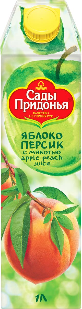 Сады Придонья Сок яблочно-персиковый с мякотью восстановленный, 1 л