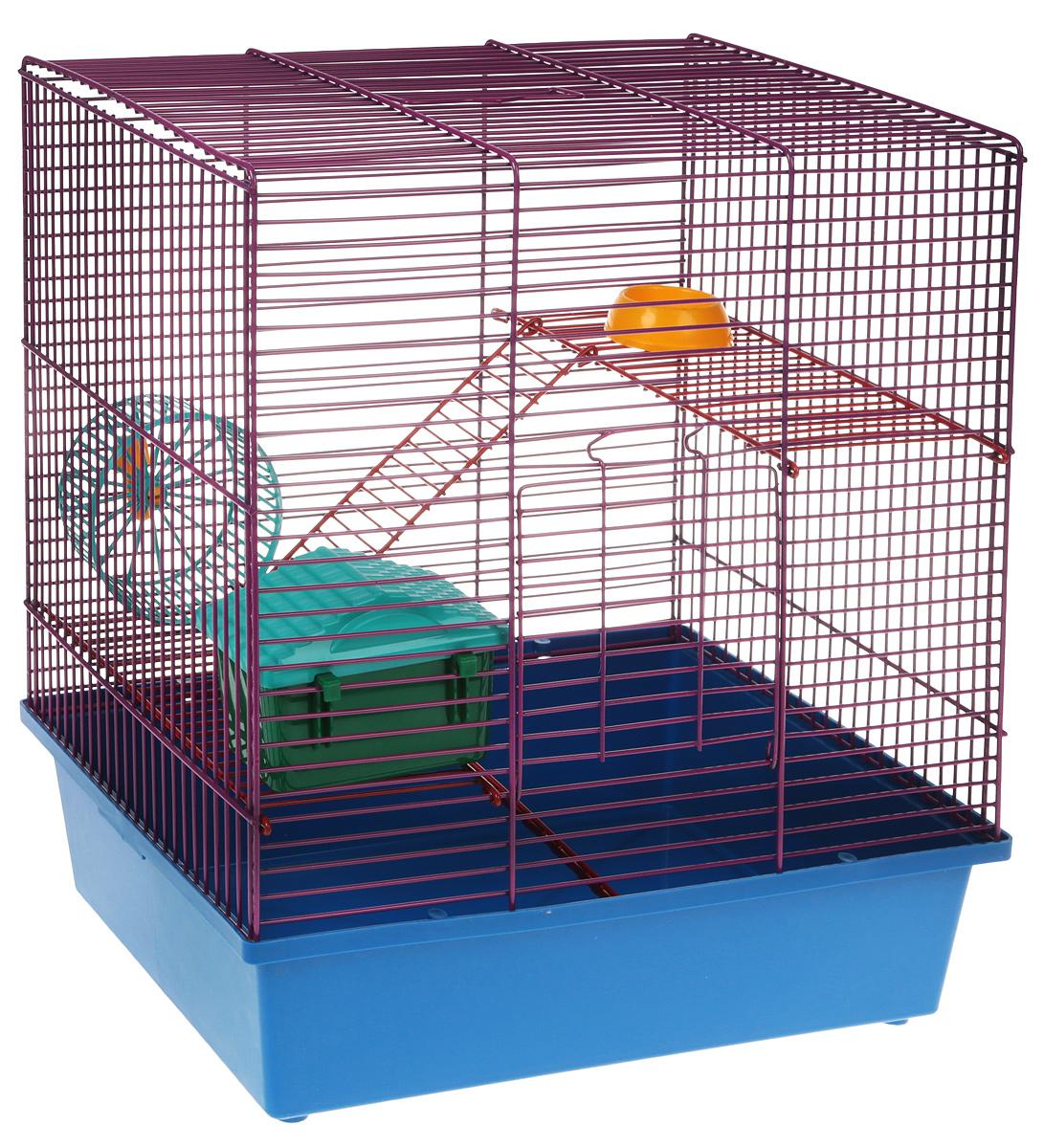 Клетка для грызунов Велес Lusy Hamster-3к, 3-этажная, цвет: синий, фиолетовый, 35 х 26 х 40 см клетка для грызунов велес с полками цвет серый 40 х 58 х 45 см