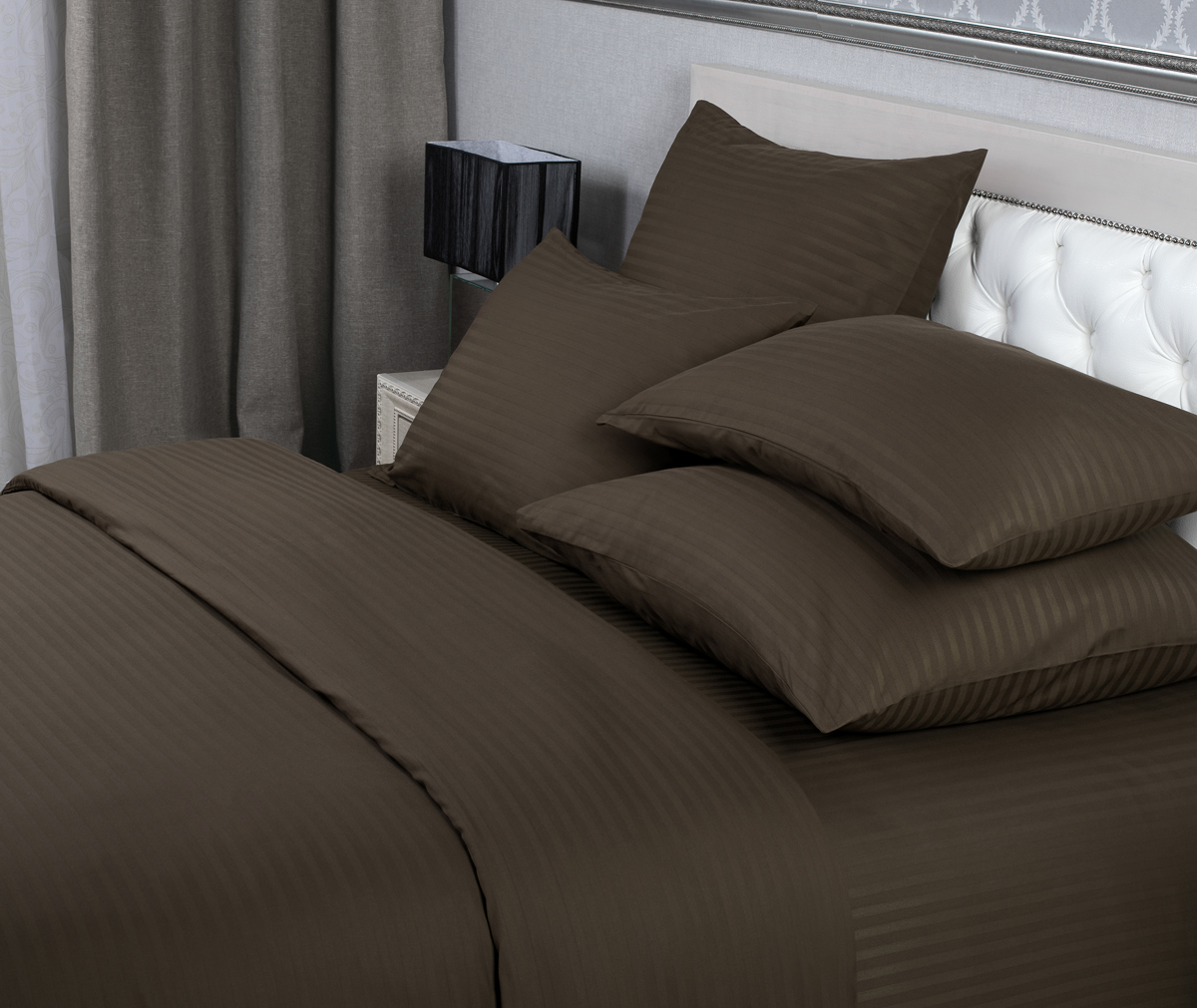 """Комплект белья """"Verossa"""", 1,5-спальный, наволочки 70х70 см, цвет: шоколадный"""