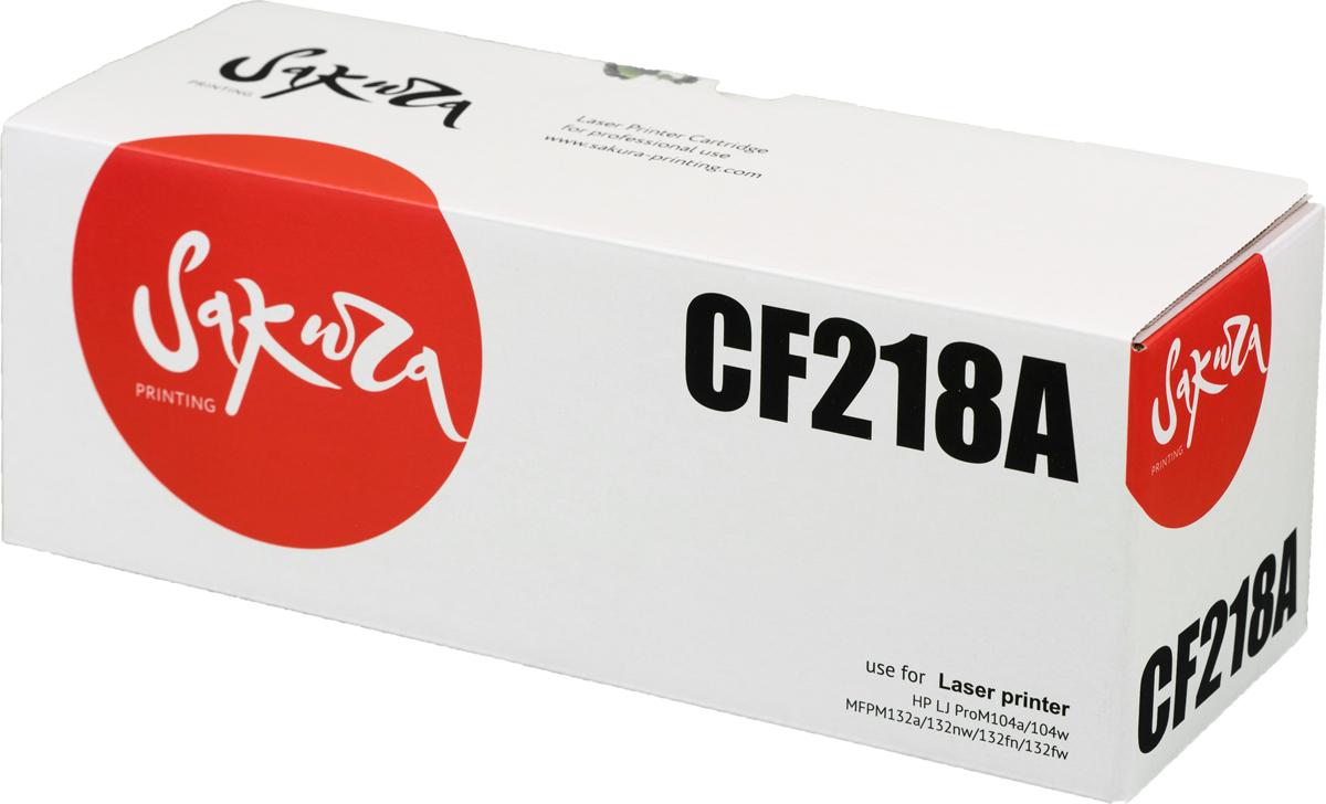 Картридж Sakura CF218A, черный, для лазерного принтера