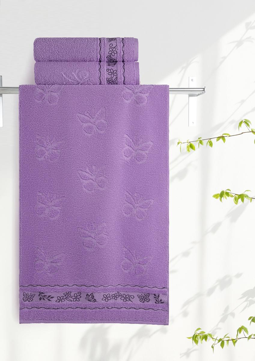 Полотенце махровое Aquarelle Бабочки, цвет: аметистовый, 70 x 140 см полотенца нордтекс полотенце aquarelle палитра аметистовый 70 130 см