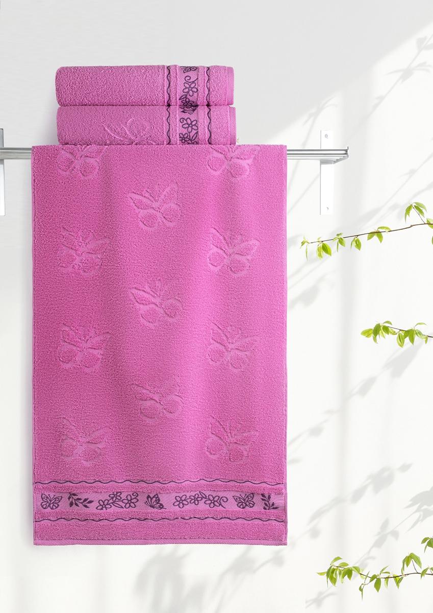 Полотенце махровое Aquarelle Бабочки, цвет: орхидея, 70 x 140 см полотенце махровое aquarelle волна цвет ваниль 70 x 140 см