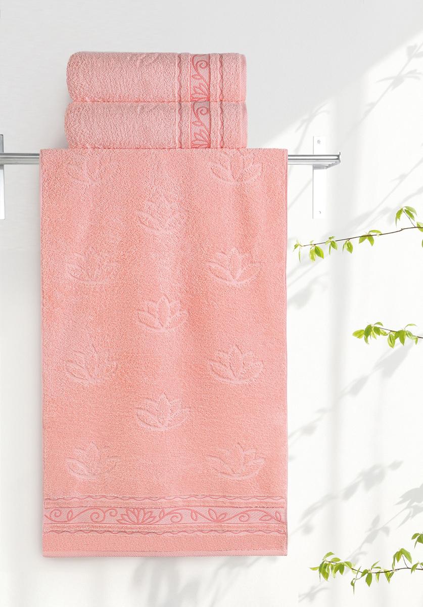 Полотенце махровое Aquarelle Лотос, цвет: розово-персиковый, 70 x 140 см полотенце махровое aquarelle волна цвет ваниль 70 x 140 см