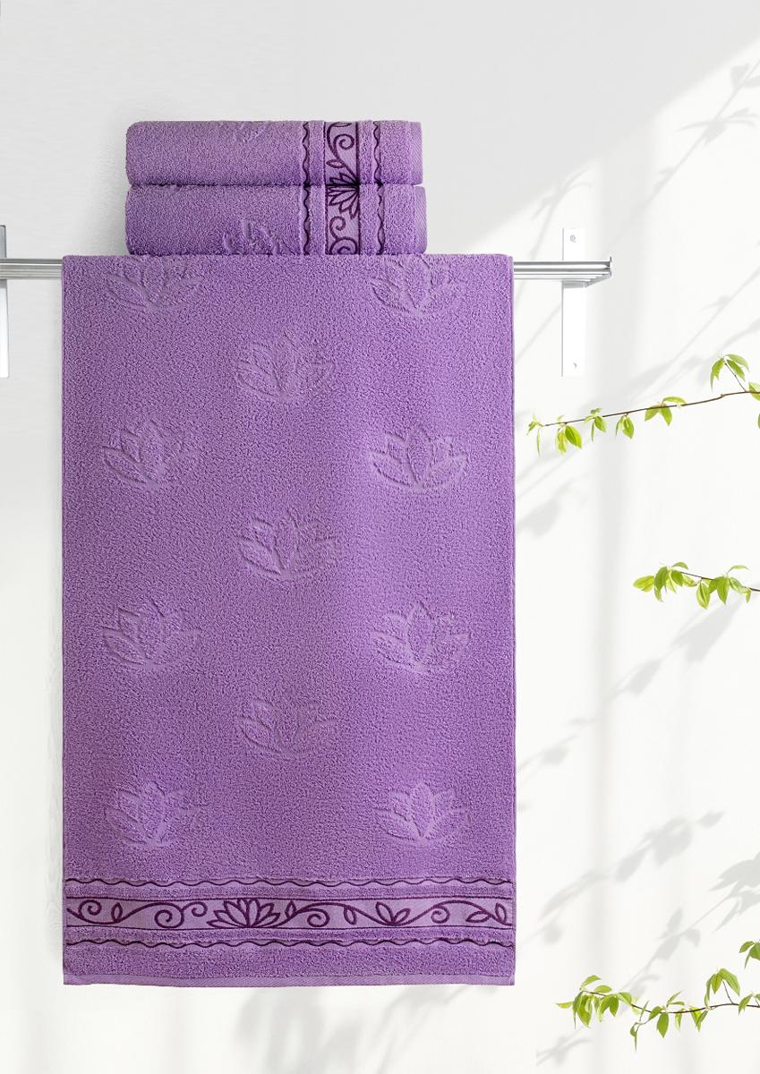 Полотенце махровое Aquarelle Лотос, цвет: аметистовый, 70 x 140 см полотенце махровое aquarelle волна цвет ваниль 70 x 140 см