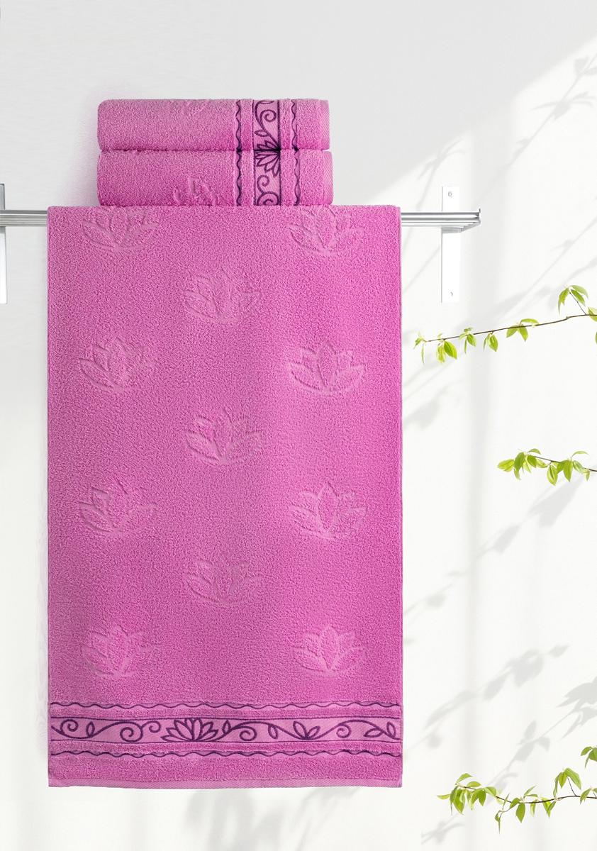 Полотенце махровое Aquarelle Лотос, цвет: орхидея, 70 x 140 см полотенце махровое aquarelle лотос цвет ваниль 70 x 140 см