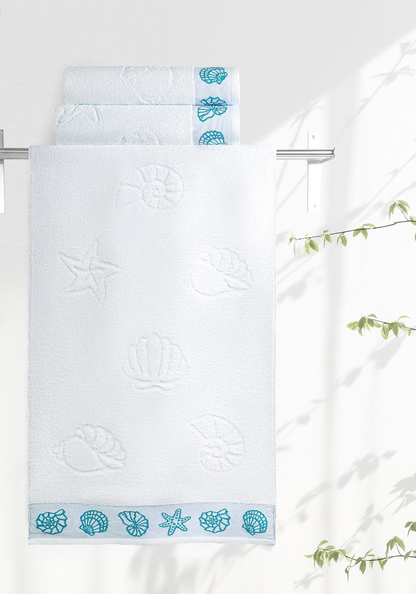 Полотенце махровое Aquarelle Ракушки, цвет: белый, 70 x 140 см полотенце махровое aquarelle ракушки цвет ваниль 70 x 140 см