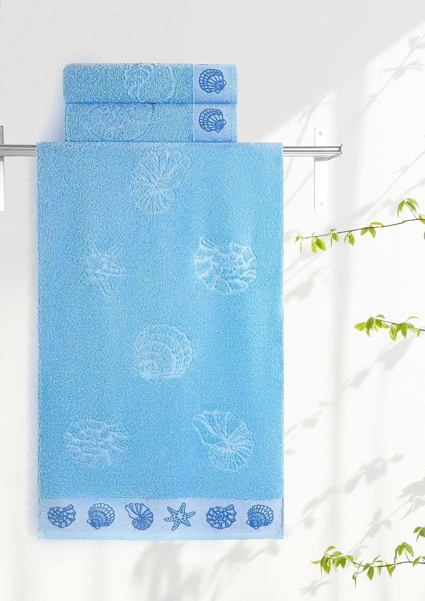 Полотенце махровое Aquarelle Ракушки, цвет: светло-васильковый, 70 x 140 см полотенце махровое aquarelle ракушки цвет ваниль 70 x 140 см