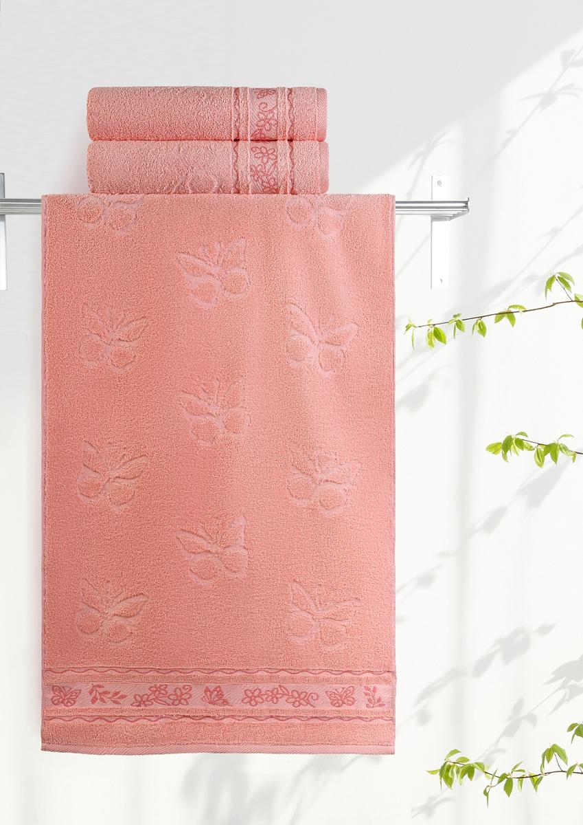 Полотенце махровое Aquarelle Бабочки, цвет: розово-персиковый, 35 x 70 см полотенце махровое aquarelle бабочки цвет ваниль 70 x 140 см