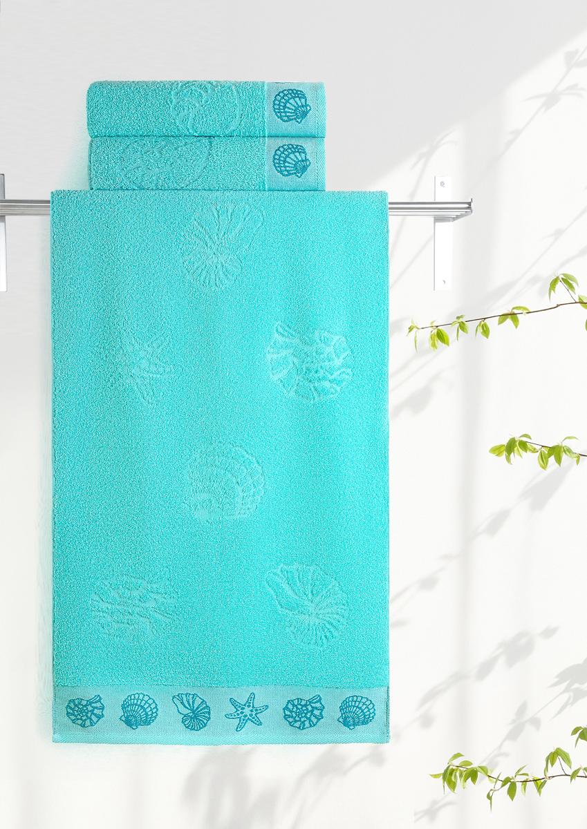 Полотенце махровое Aquarelle Ракушки, цвет: аква, 35 x 70 см полотенце махровое aquarelle ракушки цвет ваниль 70 x 140 см