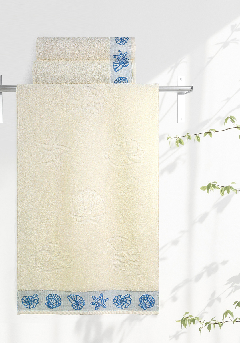 Полотенце махровое Aquarelle Ракушки, цвет: ваниль, 35 x 70 см полотенце махровое aquarelle ракушки цвет ваниль 70 x 140 см