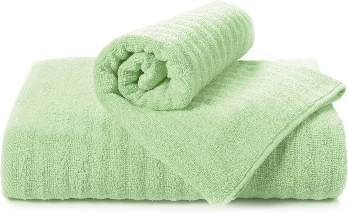 Полотенце махровое Aquarelle Волна, цвет: светло-зеленый, 50 x 90 см полотенце махровое aquarelle волна цвет ваниль 70 x 140 см
