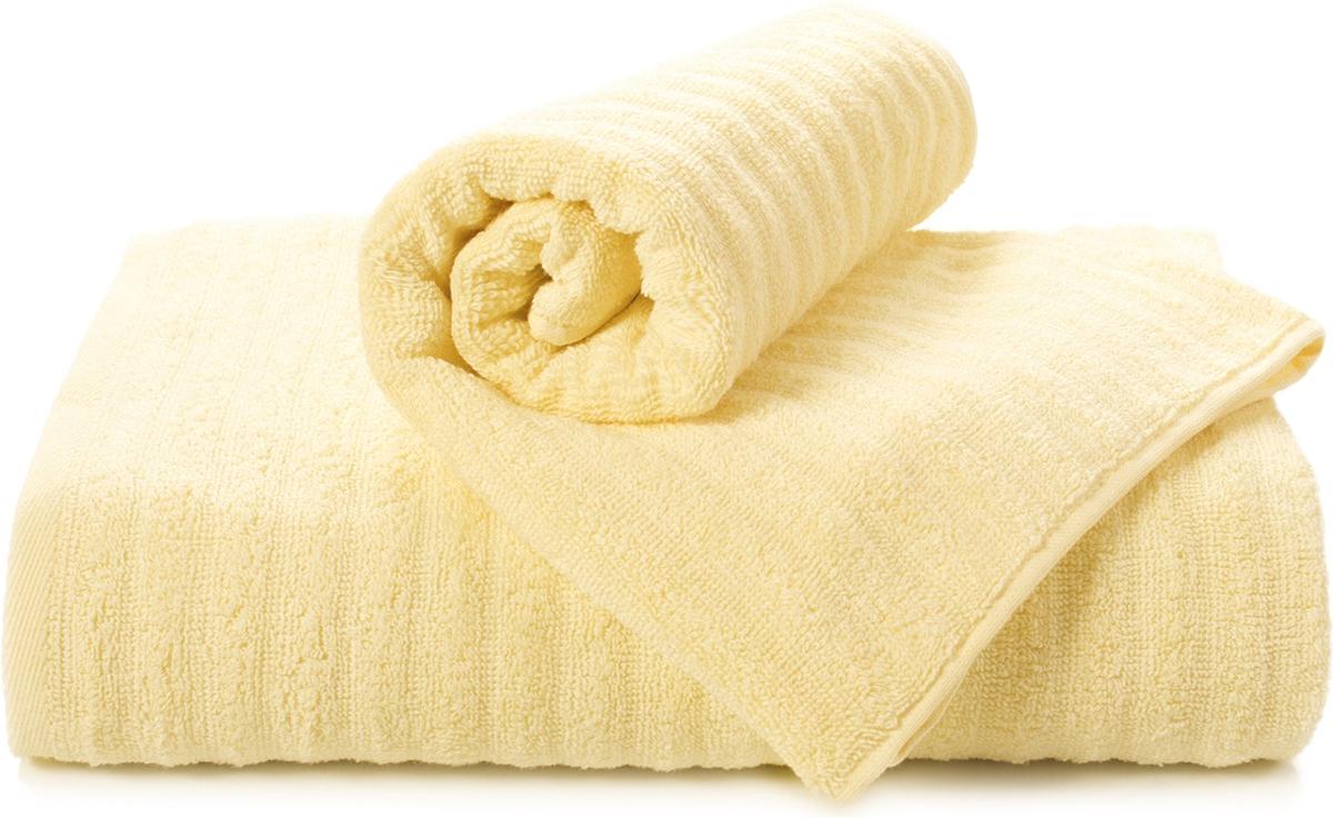 Полотенце махровое Aquarelle Волна, цвет: светло-желтый, 70 x 140 см полотенце махровое aquarelle волна цвет спокойный синий 70 x 140 см