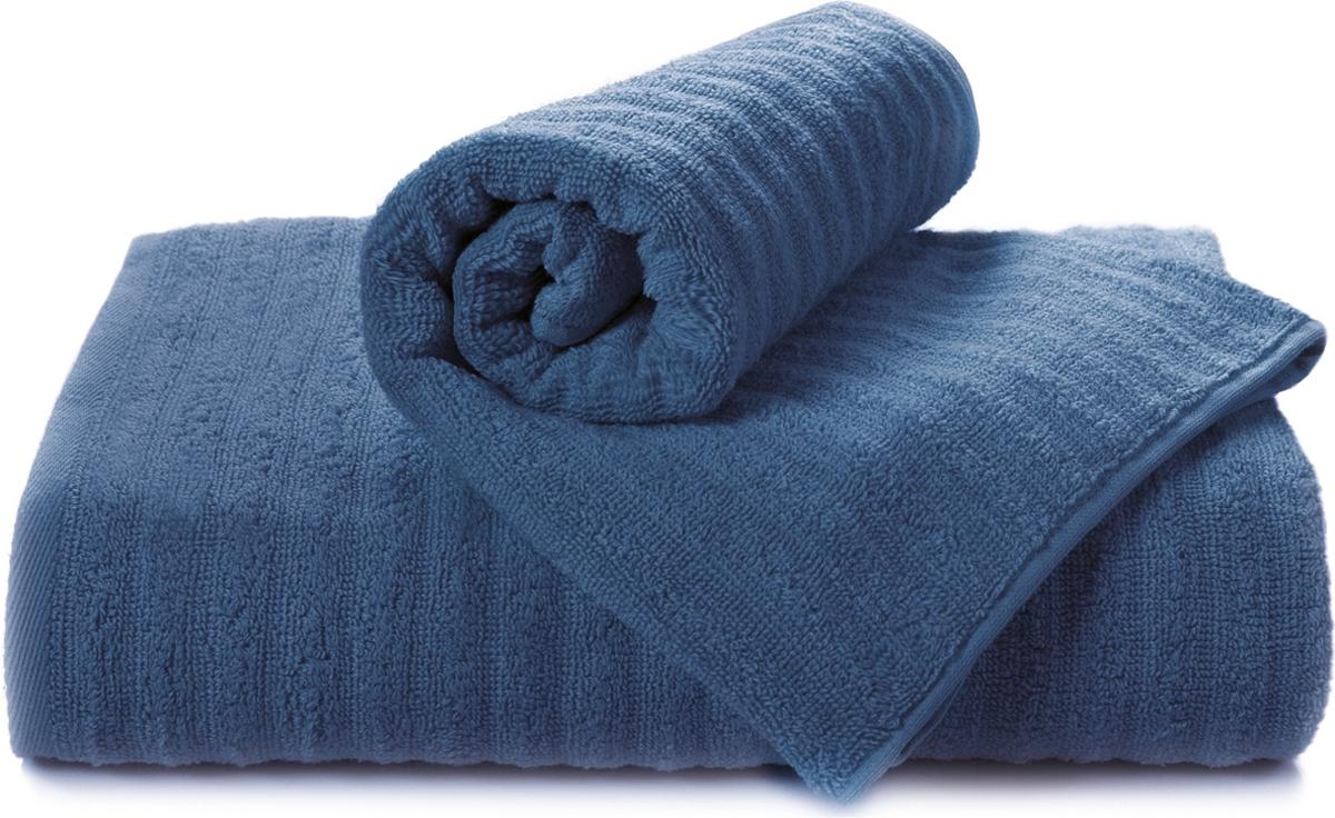 Полотенце махровое Aquarelle Волна, цвет: темно-синий, 50 x 90 см полотенце махровое aquarelle волна цвет спокойный синий 70 x 140 см