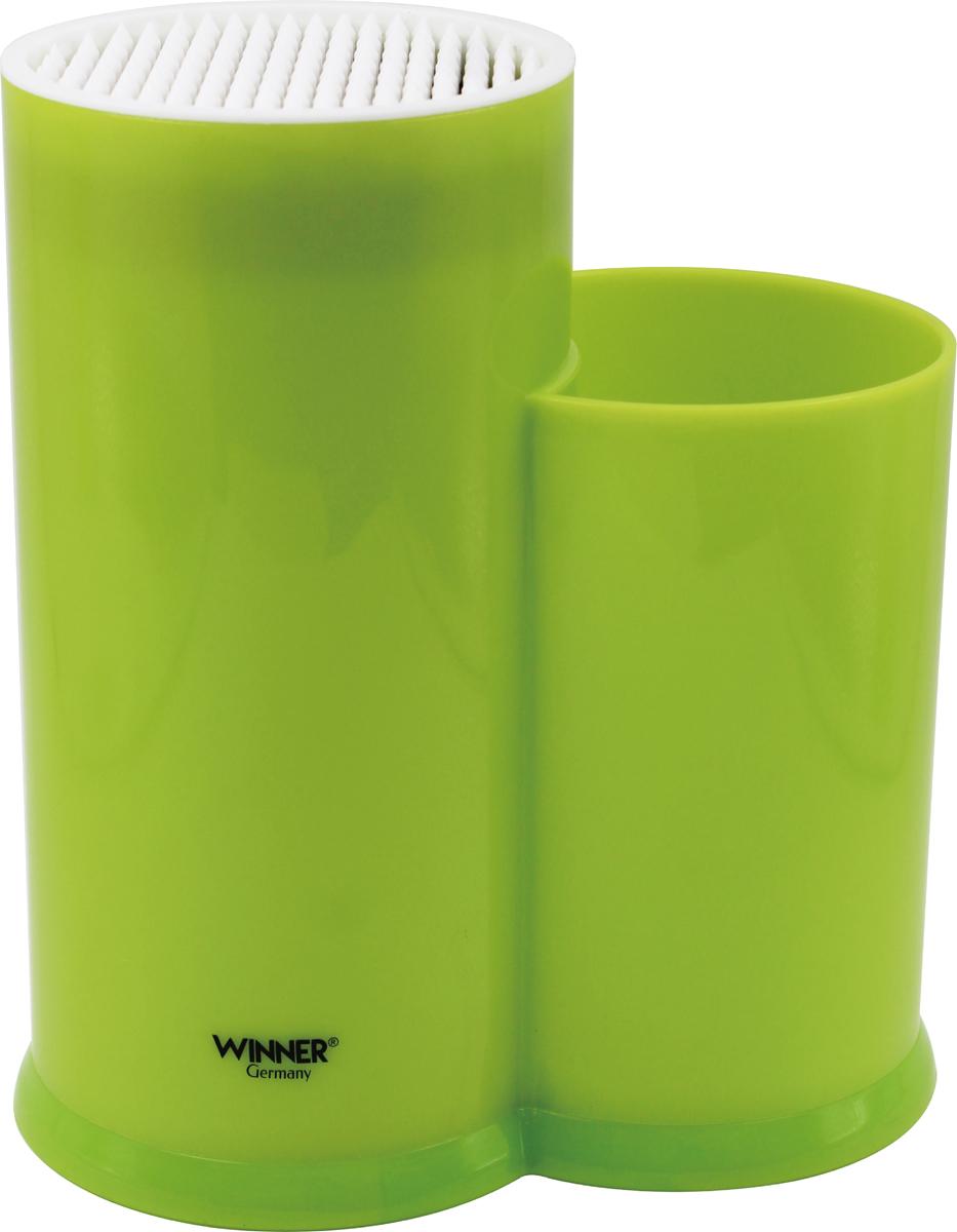 Подставка для ножей Winner, цвет: зеленый . WR-3151WR-3151Универсальная подставка для ножей Winner предназначена для безопасного и гигиеничного хранения металлических и керамических ножей, сохраняет остроту лезвий и продлевает срок службы. Материал корпуса: пластик.Размер: 20,2 х 12,2 х 22,7 см. Подходит для чистки в посудомоечной машине. Рекомендуем!