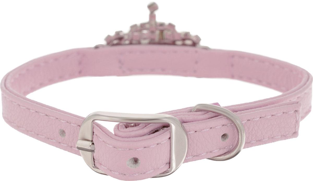 Ошейник для собак GLG, цвет: розовый, 1 x 30 смAM-DC023-30_розовыйОшейник GLG изготовлен из искусственной кожи. Клеевой слой, сверхпрочные нити, крепкие металлические элементы делают ошейник надежным и долговечным. Изделие отличается высоким качеством, удобством и универсальностью. Размер ошейника регулируется при помощи металлической пряжки. Имеется металлическое кольцо для крепления поводка. Ваша собака тоже хочет выглядеть стильно! Модный ошейник, с металлическим элементам в виде короны со стразами, станет для питомца отличным украшением и выделит его среди остальных животных. Обхват шеи: 30 см. Ширина: 1 см.