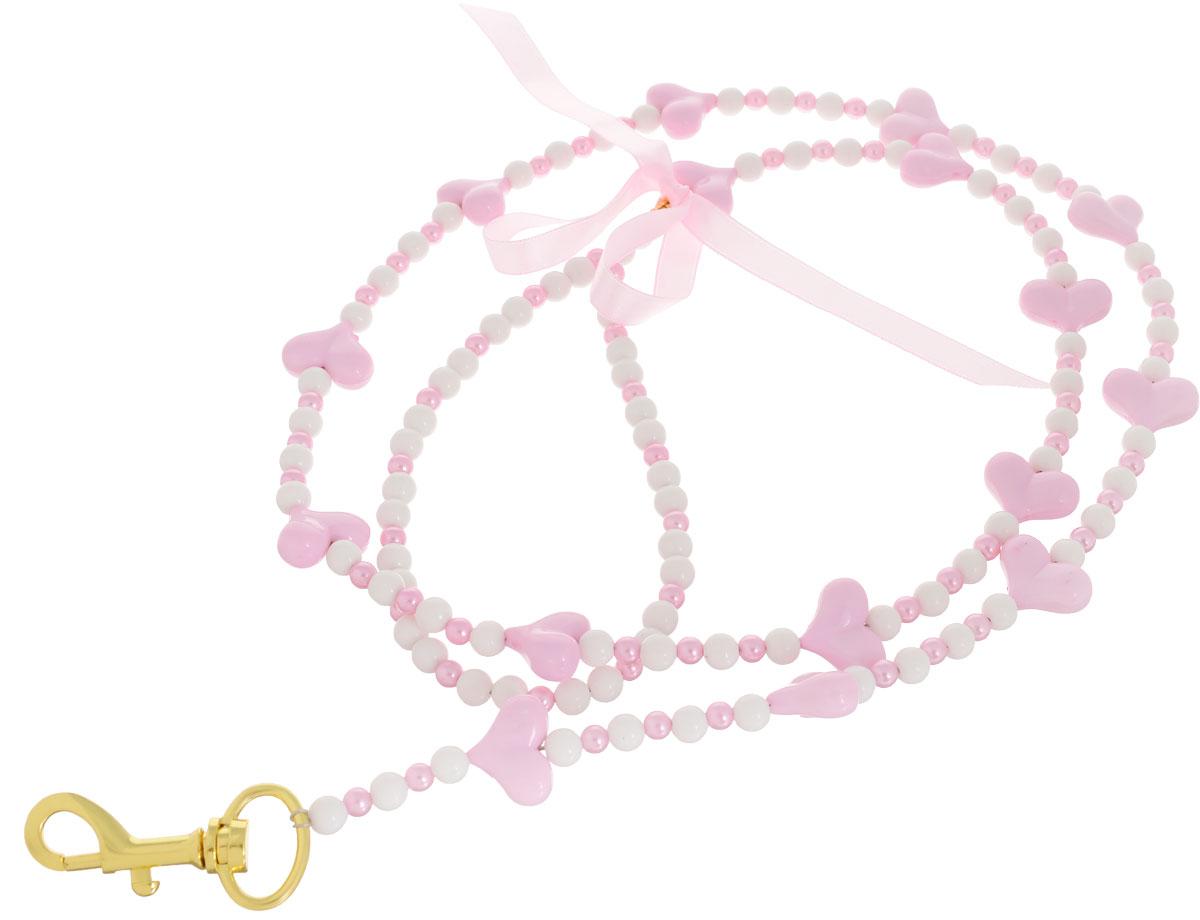 Поводок для собак Camon Бусы, сердечки, цвет: розовый, 120 см для собак поводок