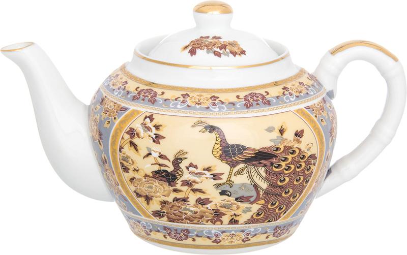 Чайник заварочный Elan Gallery Павлин на бежевом, с ситом, 700 мл elan gallery чайник с металлическим ситом павлин на золоте