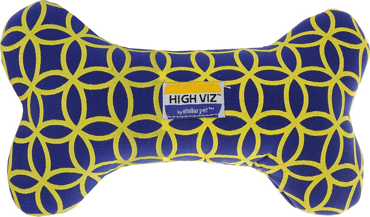 Игрушка для собак Camon High VIZ. Косточка, с пищалкой, цвет в ассортименте, длина 20 см игрушка для собак kong косточка средняя с пищалкой цвет фиолетовый 15 5 х 6 5 х 3 5 см