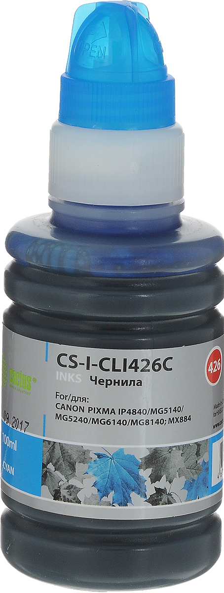 Cactus CS-I-CLI426C, Cyan чернила для Canon Pixma MG5140/5240/6140/8140/MX884 cactus cs r can425 color комплект картриджей для canon pixma ip4840 mg5140 5240