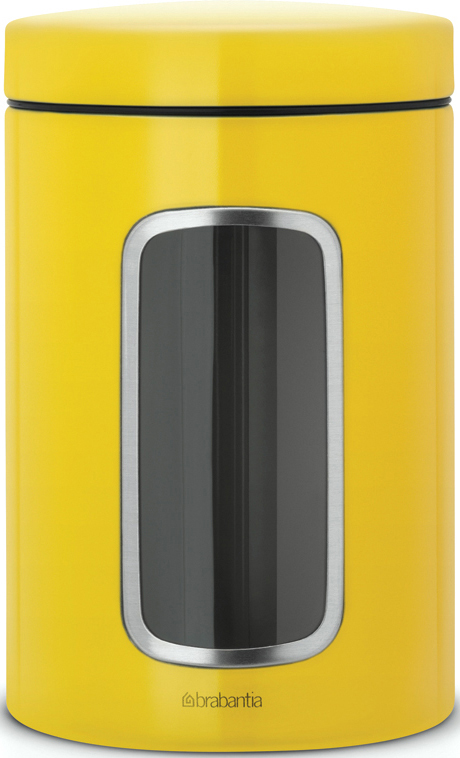 Контейнер для сыпучих продуктов Brabantia, с окном, цвет: желтый, 1,4 л brabantia контейнер для сыпучих продуктов с окном 1 4 л 484063 brabantia