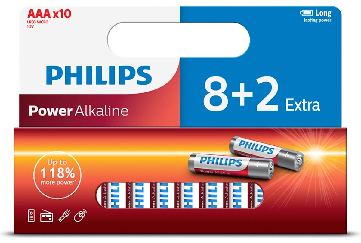 купить Батарейка щелочная Philips Power, тип AAА, 1,5 В, 10 шт недорого