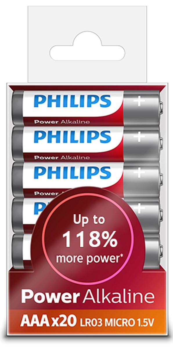 Батарейка щелочная Philips Power, тип AAА, 1,5 В, 20 шт