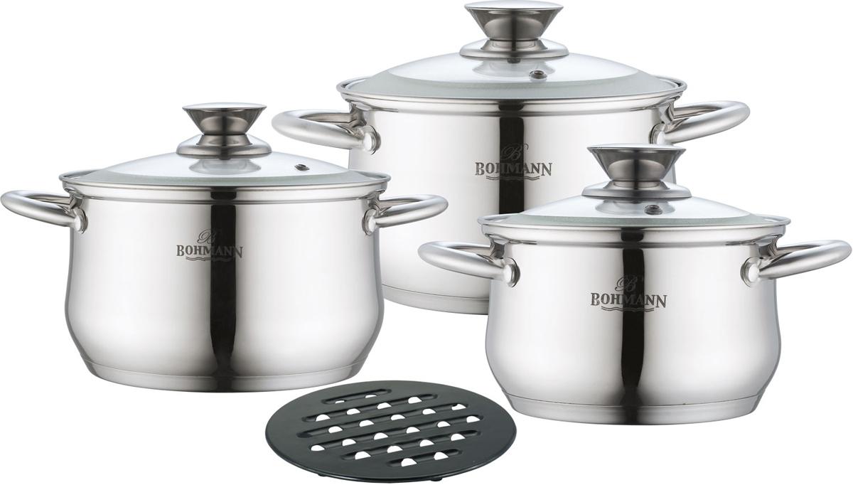 Набор посуды Bohmann, цвет: серебристый, 7 предметов. 0113BH набор посуды hoffberg 17 предметов цвет белый 1729hff