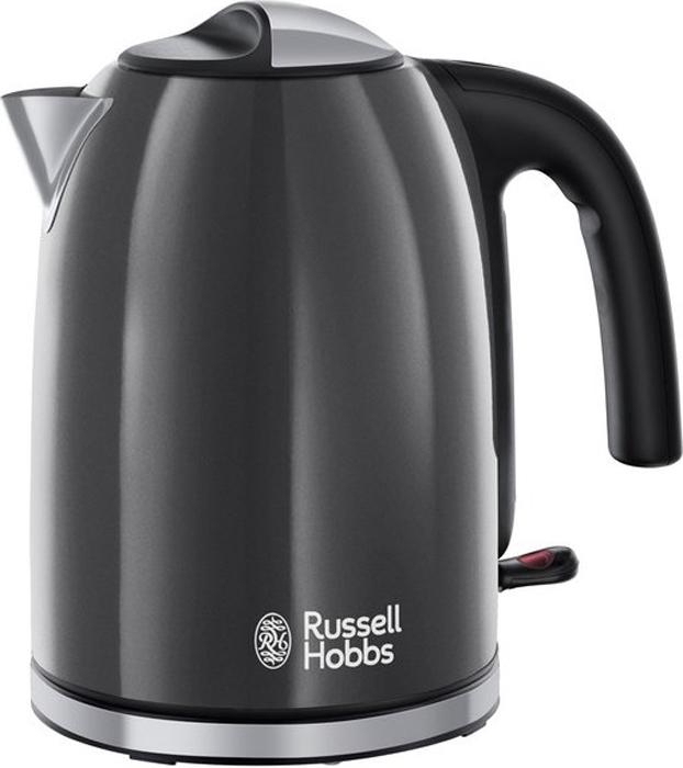 Электрический чайник Russell Hobbs 20414-70 Colours Plus Storm, Grey20414-70Чайник Russell Hobbs 20414-70 из яркой коллекции Colours Plus создает атмосферу тепла и уюта на кухне в вашем доме или в офисе. Его главная особенность - правильное сочетание привлекательного дизайна и функциональности.Чайник оснащен метками уровня воды для быстрого кипячения воды на 1, 2 или 3 чашки. Таким образом, 1 чашку воды вы вскипятите всего за 50 секунд, экономя при этом до 70% электроэнергии. Откидная крышка, окошки уровня воды с двух сторон, поворотная на 360° база с местом для хранения шнура - эти дополнительные детали создают комфорт при пользовании чайником коллекции Colours Plus. • Зоны быстрого кипячения на 1, 2 или 3 чашки. • Система идеальный носик. • Откидная крышка. • Индикация уровня воды. • Центральный контакт 360°. • Скрытый нагревательный элемент. • Съемный моющийся фильтр против попадания накипи.