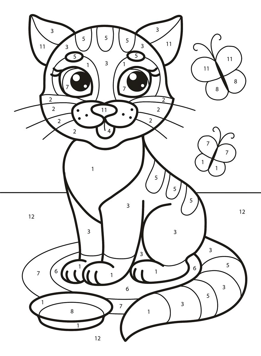 ЛиС Раскраска по цифрам Котята и щенки (4490)